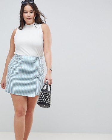 Fashion Shop - ASOS DESIGN Curve double breasted mini skirt in blue stripe - Multi