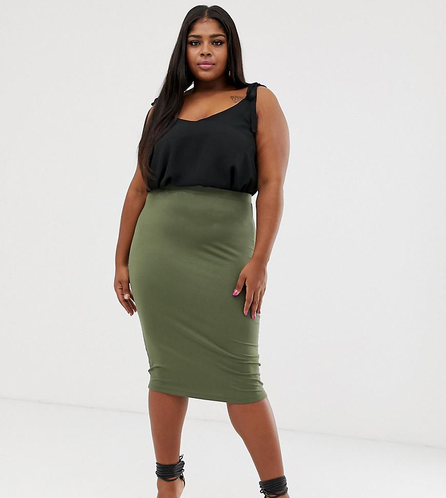 Fashion Shop - ASOS DESIGN Curve jersey pencil skirt - Green