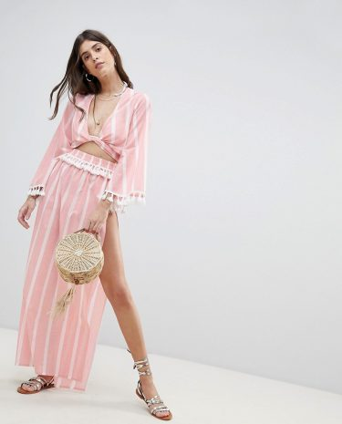 Fashion Shop - ASOS DESIGN Natural Stripe Fabric Pom Pom Trim Beach Sarong - Multi