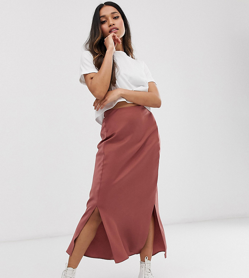 Fashion Shop - ASOS DESIGN Petite bias cut satin midi skirt with splits - Brown