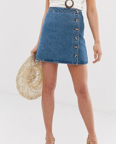 Fashion Shop - ASOS DESIGN Tall denim wrap skirt with buttons in midwash blue - Blue
