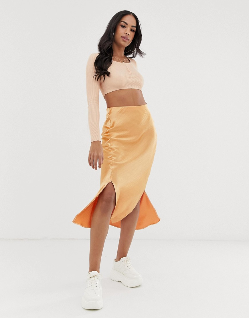 Fashion Shop - ASOS DESIGN bias cut satin midi skirt with splits - Orange
