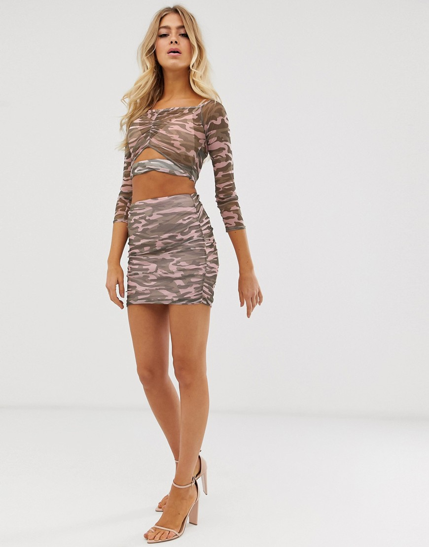 Fashion Shop - ASOS DESIGN camo mesh mini skirt - Multi