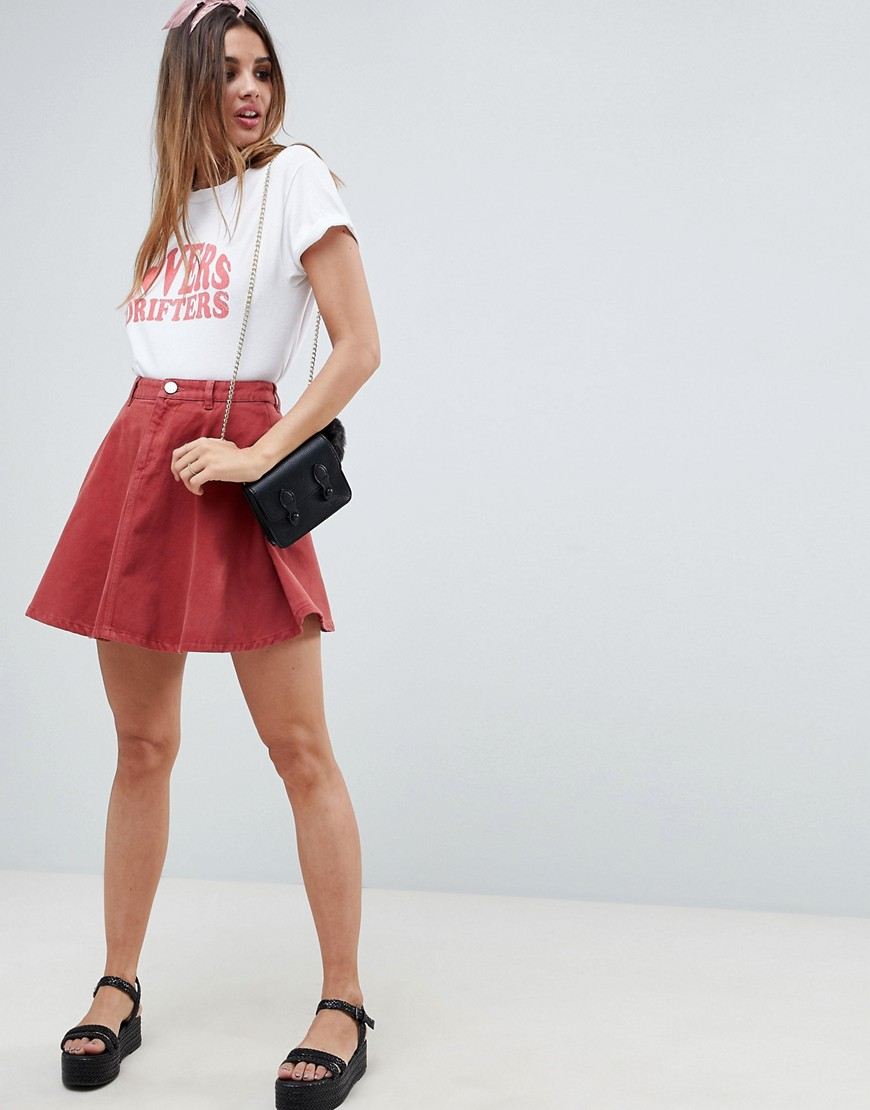 Fashion Shop - ASOS DESIGN denim circle skirt in rust - Brown