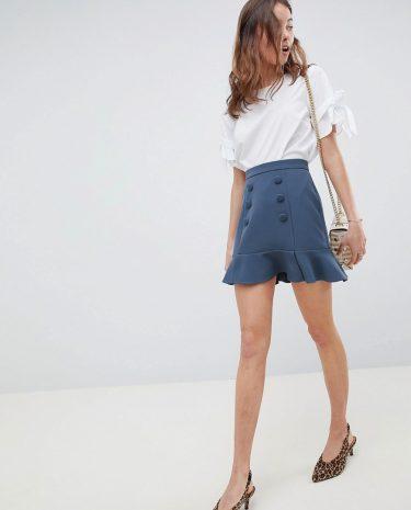 Fashion Shop - ASOS DESIGN double breasted pep hem mini skirt - Grey