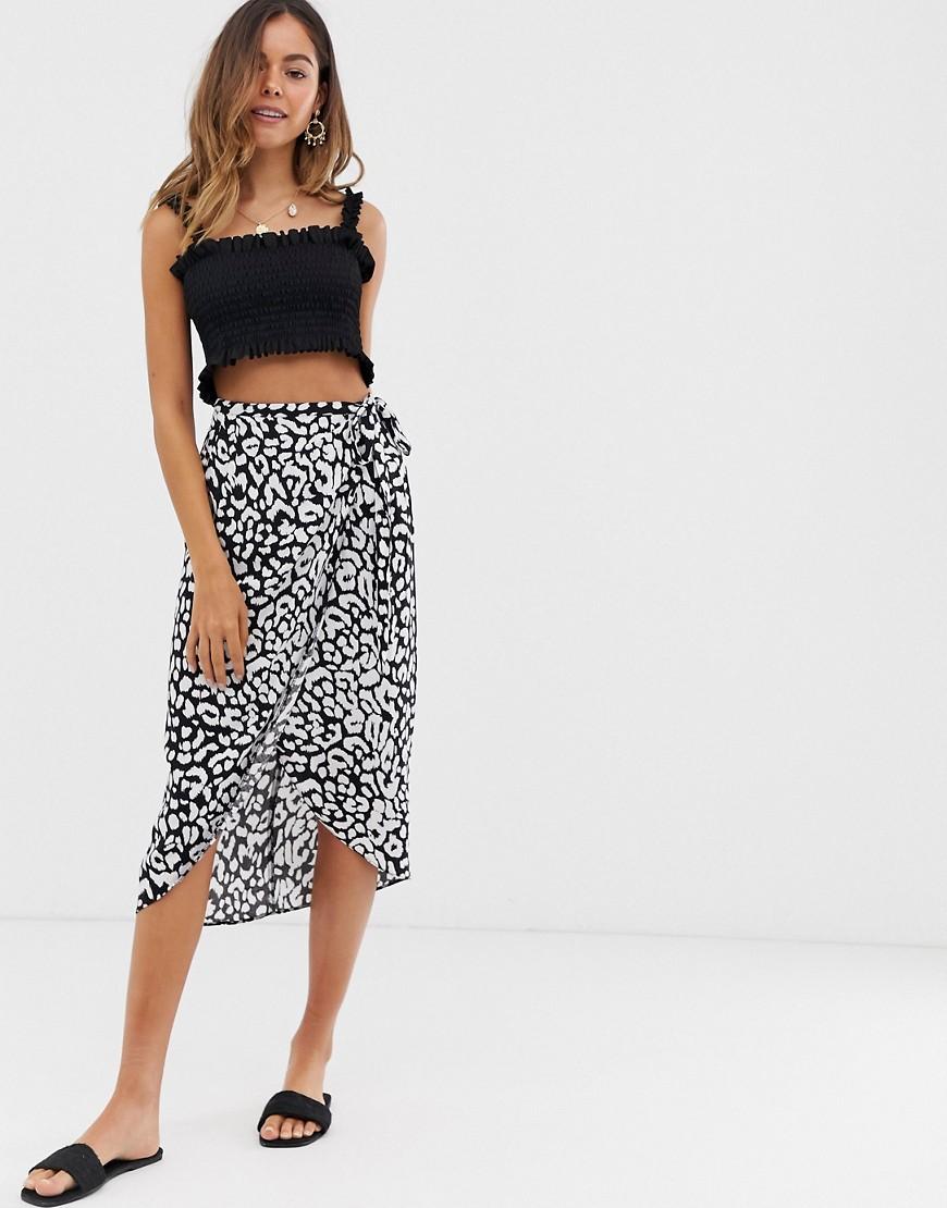 Fashion Shop - ASOS DESIGN mono leopard wrap midi skirt - Multi