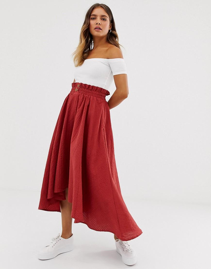 Fashion Shop - ASOS DESIGN seersucker full midi skirt with shirred waistband - Red