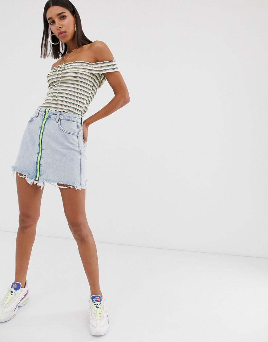 Fashion Shop - Bershka zip front skirt in blue - Blue