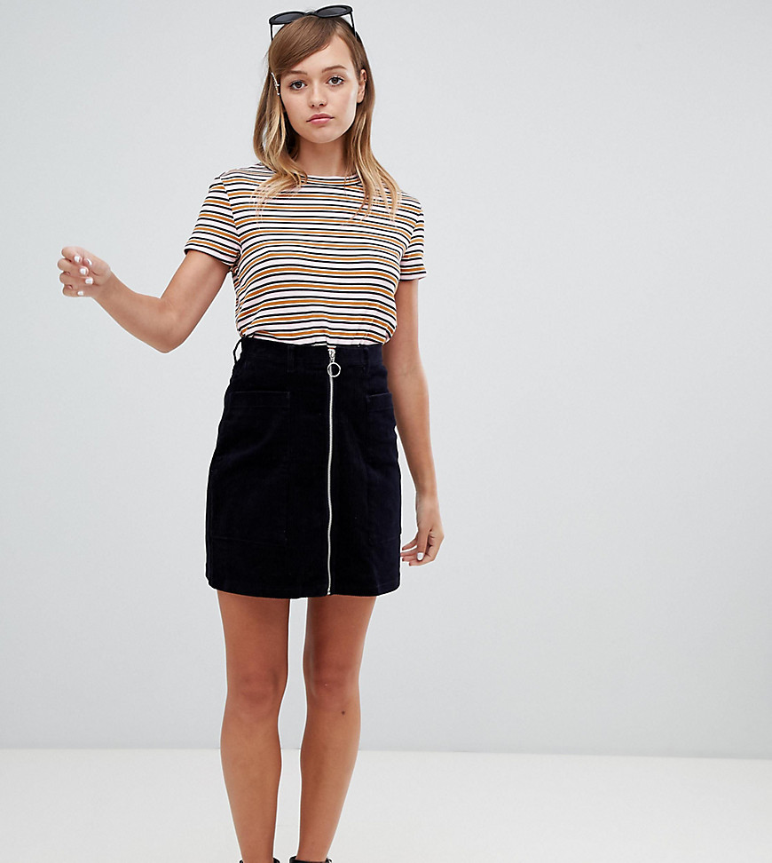 Fashion Shop - Monki cord zip up mini skirt in navy - Navy