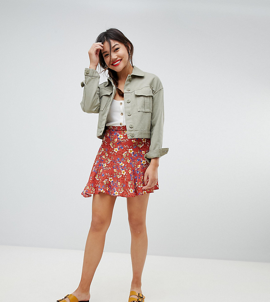Fashion Shop - Pimkie Floral Print Skirt - Red
