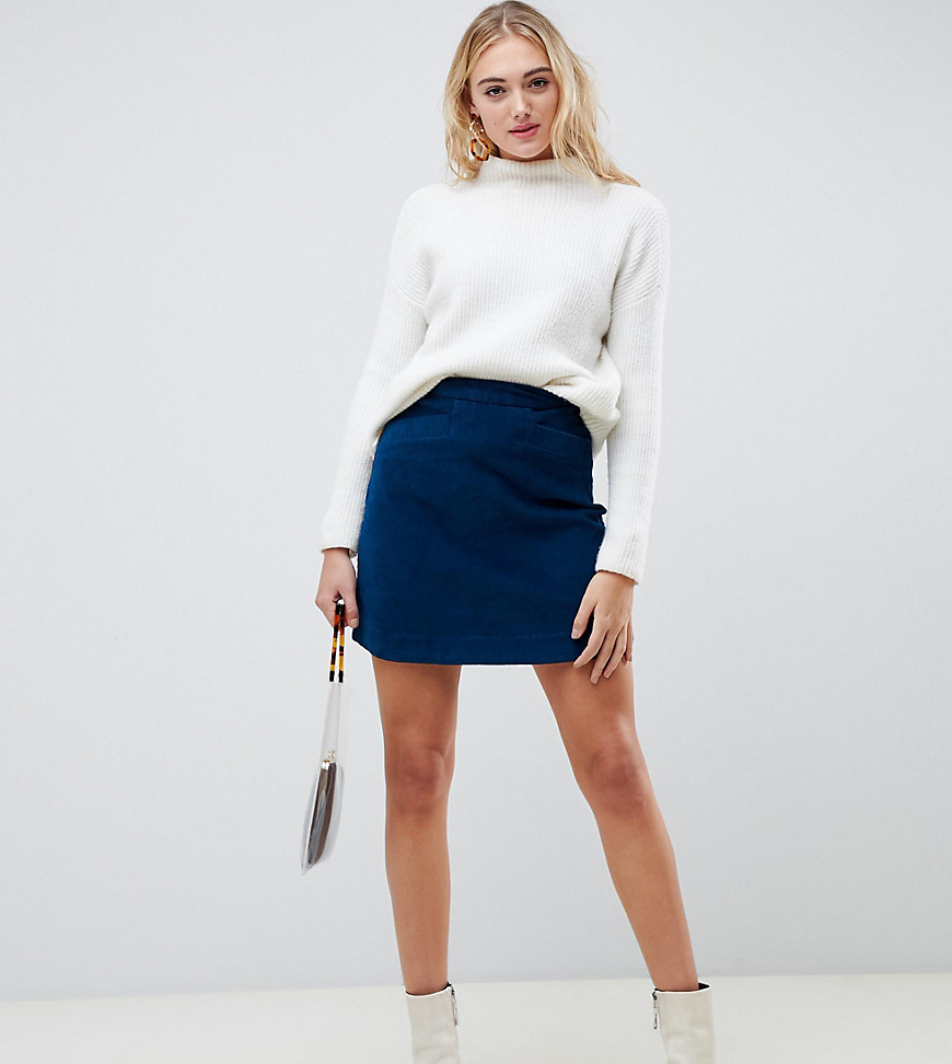 Fashion Shop - Vero Moda Tall Cord Mini Skirt - Blue