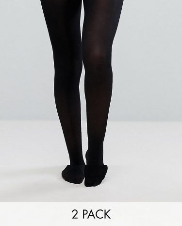 Fashion Shop - ASOS DESIGN 2 pack 40 denier black tights in recycled nylon