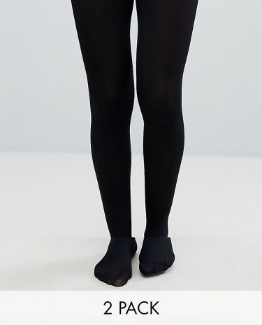 Fashion Shop - ASOS DESIGN 2 pack 80 denier black tights in recycled nylon