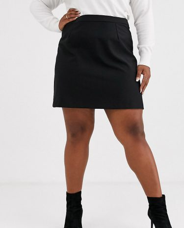 Fashion Shop - ASOS DESIGN Curve tailored a-line mini skirt-Black