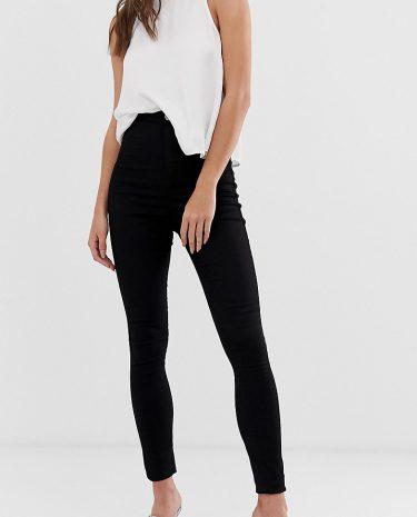 Fashion Shop - ASOS DESIGN Tall Rivington high waisted denim jeggings in clean black