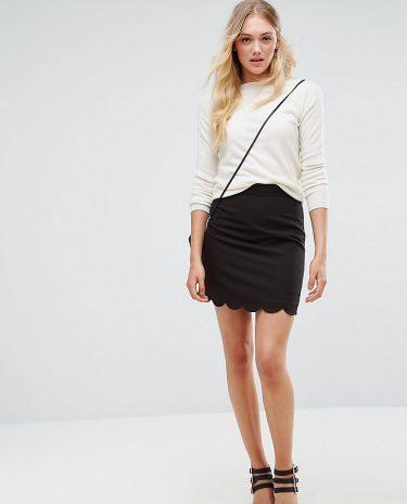Fashion Shop - ASOS DESIGN Tall tailored a-line mini skirt with scallop hem-Black