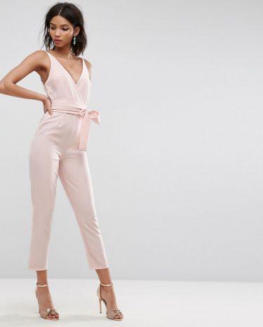 Fashion Shop - ASOS DESIGN wrap front jumpsuit with peg leg and self belt-Pink