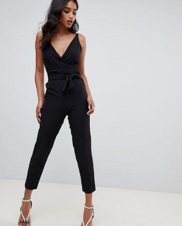 Fashion Shop - ASOS DESIGN wrap front jumpsuit with peg leg and self belt in black