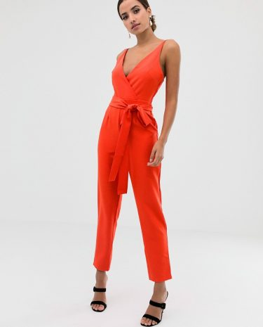 Fashion Shop - ASOS DESIGN wrap front jumpsuit with peg leg and self belt in tomato red