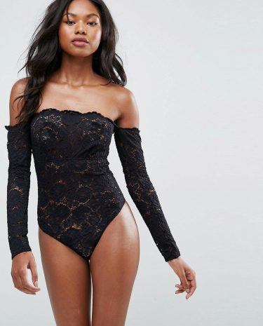 Fashion Shop - ASOS Lex Premium Lace Long Sleeve Off Shoulder bodysuit-Black