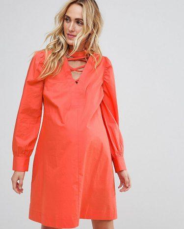 Fashion Shop - ASOS Maternity PETITE Tie Waist mini dress with Lattice Front-Orange