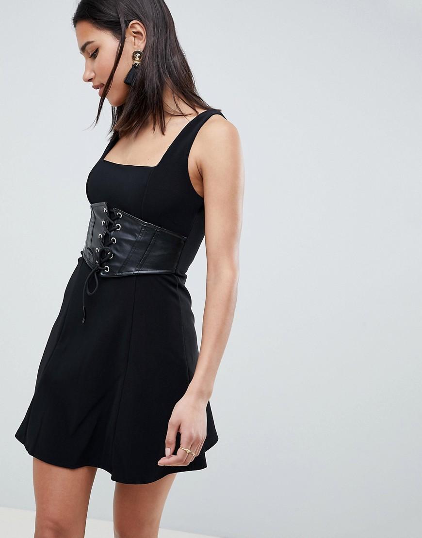 Fashion Shop - ASOS Premium Rib Mini Skater Dress With Faux Leather Corset-Black