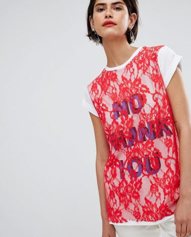 Fashion Shop - ASOS T-Shirt with Print and Lace Overlayer-Red