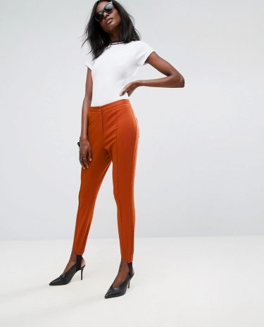 Fashion Shop - ASOS Washed Skinny Pants with Stirrup Detail-Red