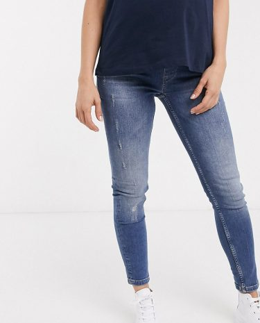 Fashion Shop - GeBe Maternity over-the-bump skinny jeans in light wash blue
