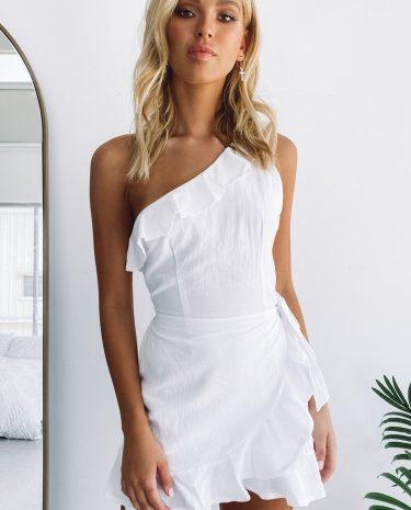 Fashion Shop - Avery Ruffle One Shoulder Dress White - 10