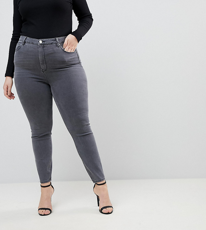 Fashion Shop - ASOS DESIGN Curve Ridley high waisted skinny jeans in grey