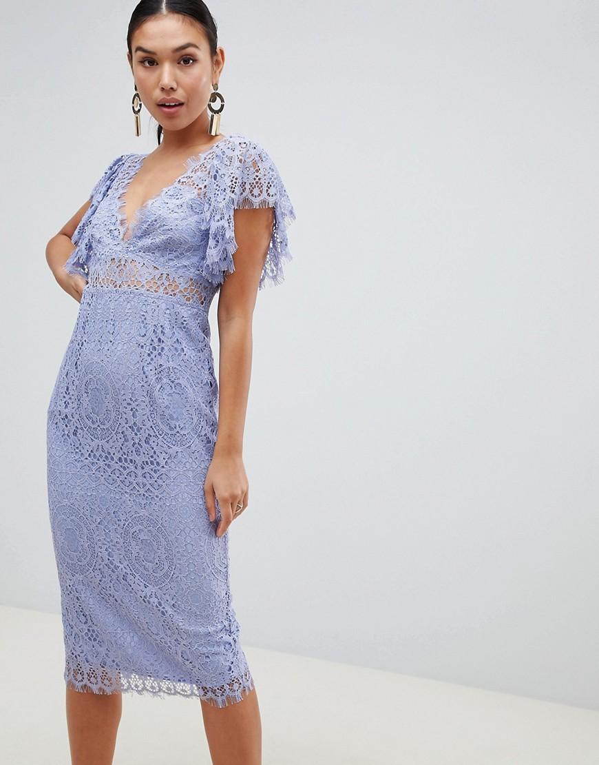 Fashion Shop - ASOS DESIGN Lace Pencil Midi Dress With Frill Sleeve-Blue