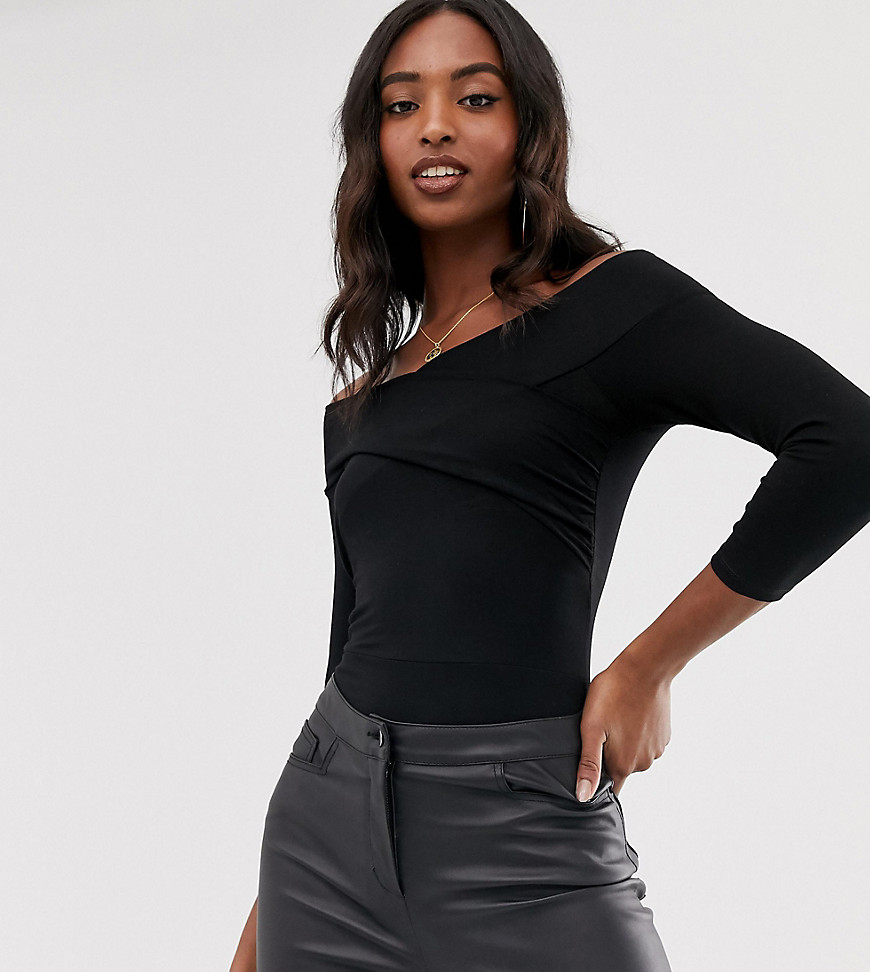 Fashion Shop - ASOS DESIGN Tall bodysuit with wrap front in black