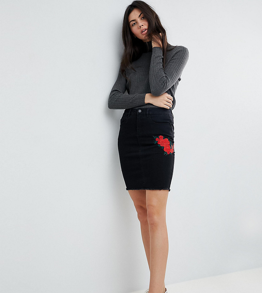 Fashion Shop - Noisy May Tall Skirt With Floral Embroidery-Black
