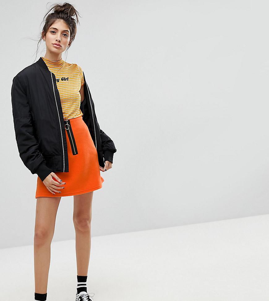 Fashion Shop - Reclaimed Vintage Inspired Contrast Zip Mini Skirt-Orange