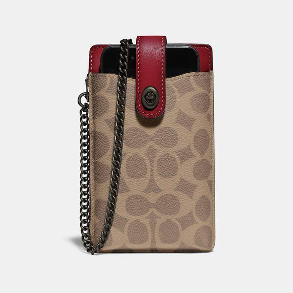 Fashion Shop - Coach Turnlock Chain Phone Crossbody In Blocked Signature Canvas