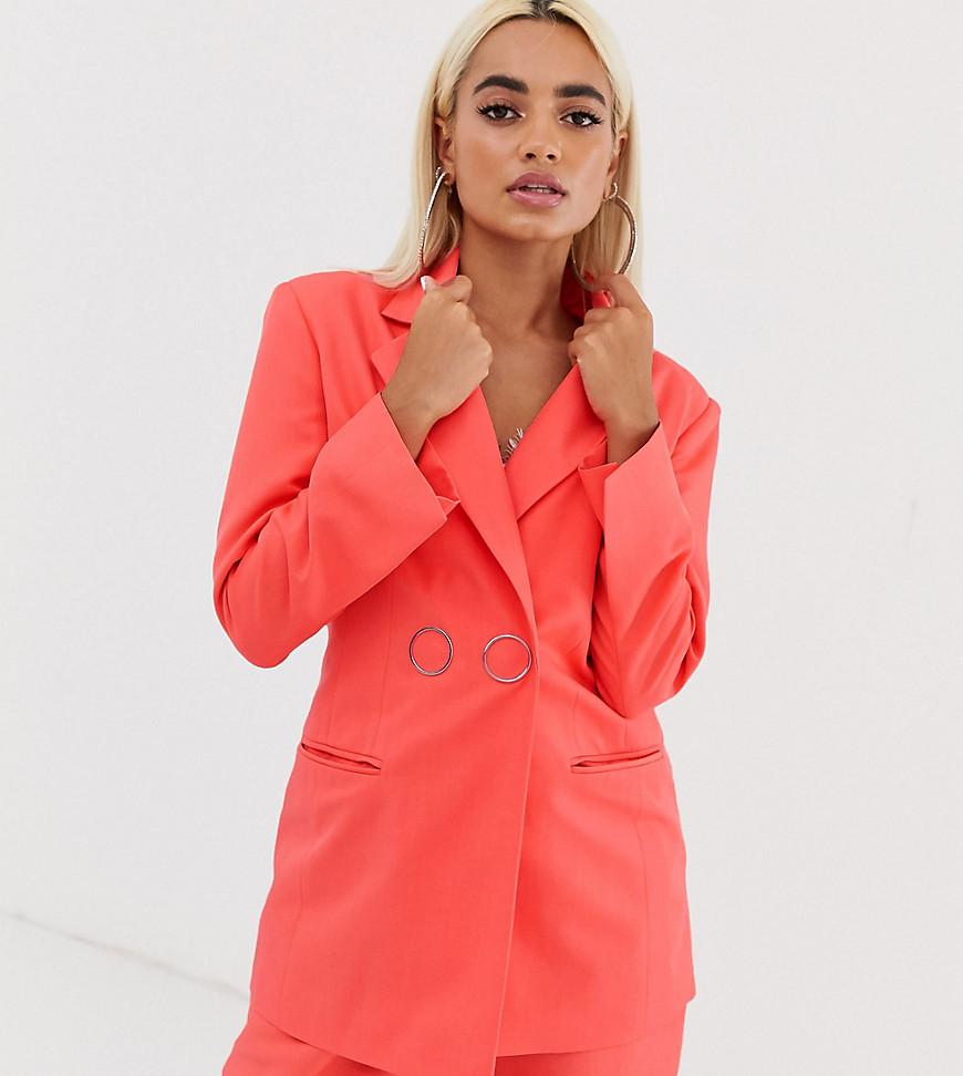 Fashion Shop - ASOS DESIGN Petite strong shoulder suit blazer in coral-Orange