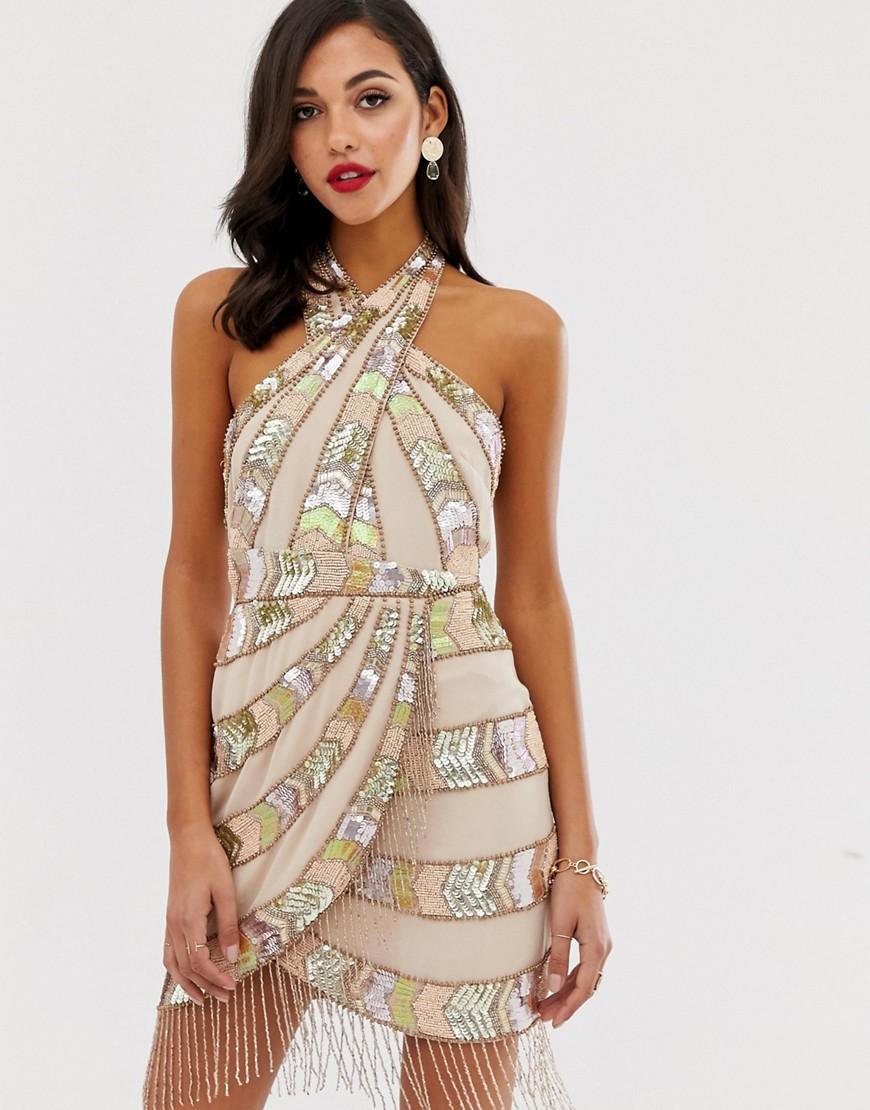 Fashion Shop - ASOS DESIGN mini dress with wrap neck and aztec embellishment fringe-Multi