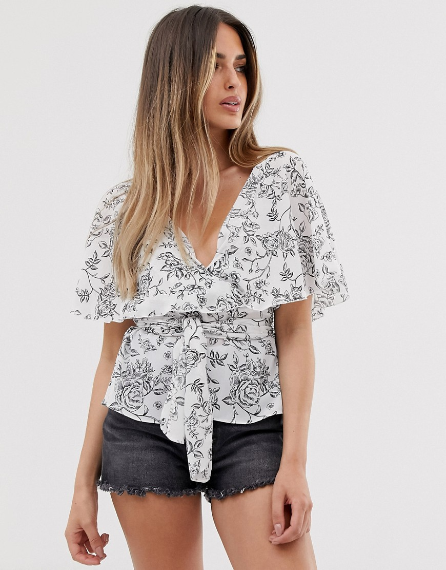 Fashion Shop - ASOS DESIGN short sleeve sheer wrap top with cape detail in floral print-Multi