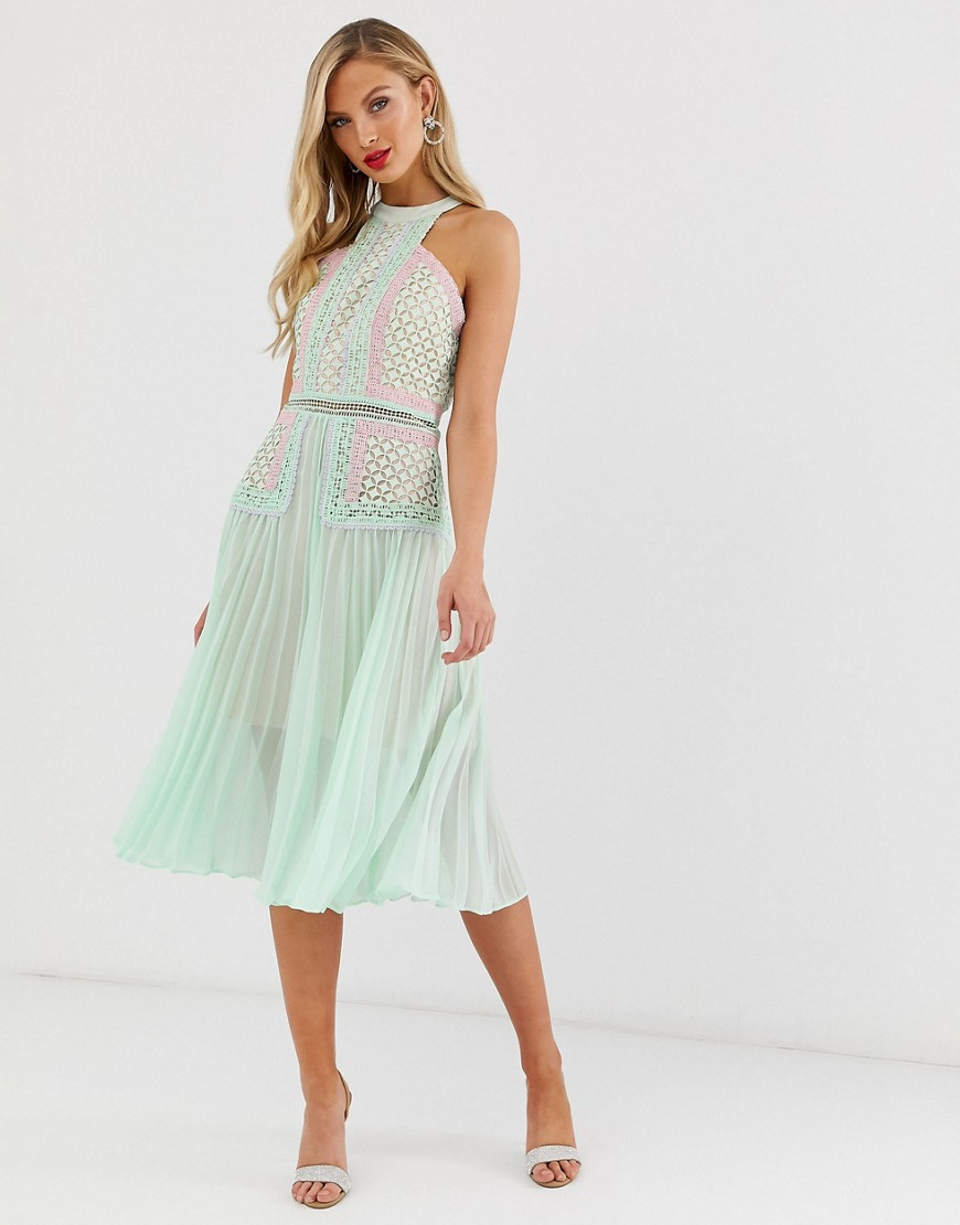 Fashion Shop - True Decadence premium halter neck midi dress with contrast lacel panels and pleated skirt in tonal mint-Green